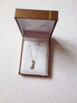 F. Hinds 9 Carat White Gold Pendant Necklace With Gemstone