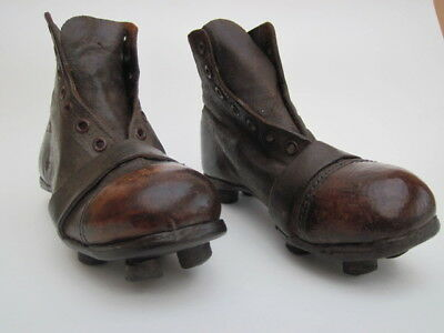 antique football boots, vintage rugby boots, childs original leather cork stud