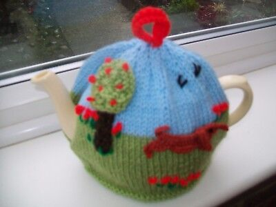 Hand Knitted  Sausage Dog Tea Cosy For A Medium Teapot 3-4 Cup Size