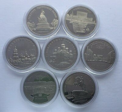 USSR Russia 7 Coin Collection, 5 Roubles PROOF 1989-1990 Monuments Collection