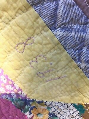 INTERESTING PATCHWORK EMBROIDERED QUILT dated 1938