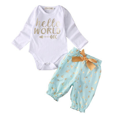 12-18 Months Infant Newborn Baby Girls Sunsuit Romper Tops+Pants Clothes Outfits