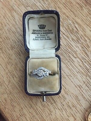 Antique Vintage Diamond Ring Size N Trilogy twist 18ct Gold And platinum