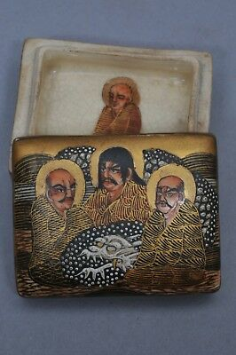ANTIQUE SIGNED JAPANESE MEIJI PERIOD (1868-1912) SATSUMA BOX with 3 IMMORTALS