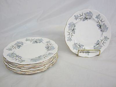 Lot of 8 Royal Albert Silver Maple Desert Plates 7 1/4 inch Excellent