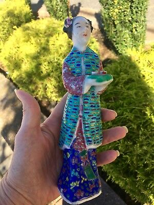 """Antique  Chinese Porcelain Figurines 7"""" Famille Rose Woman Serving Tray"""