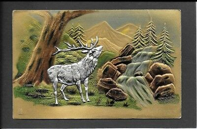 High   BAS RELIEF   postcard of a STAG in the Mountains  GERMAN printed