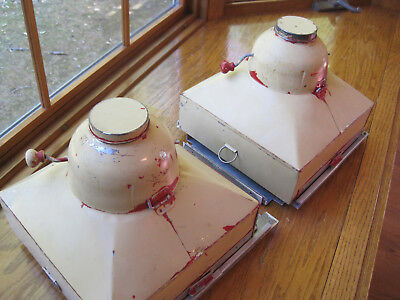 Pair of Hoosier Cabinet Tin Flour Sifter Bins w/ Tracks, Caps and Slide-Out Lid