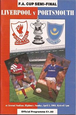 Football Programme - Liverpool v Portsmouth - FA Cup Semi-Final - 5/4/1992