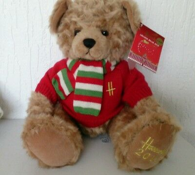 "Harrods 2010 ARCHIE Foot Dated 13"" Annual Christmas Teddy Bear with Ear Tags"