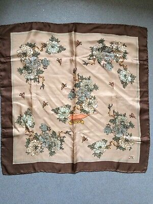 Vintage Liberty Of London Brown Floral Hand Rolled Silk Scarf