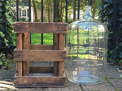 Vintage Wooden Bottle Crate & 5 Gallon Clear Glass Mexico Water Jug