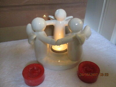 Cute White Circle of Angels Tea Light Holder& Yankee Candle Christmas Tealights