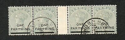 BERMUDA : 1901 ¼d ON 1/- DULL GREY S.G.30 4 STAMPS WITH A GUTTER VERY FINE USED