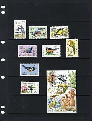"BARBUDA 1985 Bird issues and $5 Mini Sheet""Barbuda Mail""  Mtd. MINT"
