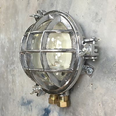 Vintage Industrial Lamp / Wall Light - Glass Dome & 6 Bar Metal Cage Edison 60w