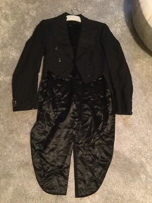 """Vintage black wool tail coat tailcoat 1930s chest 40"""" 1940s event formal"""