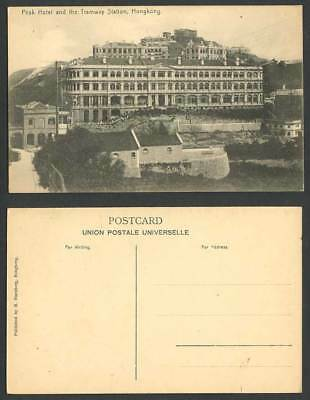Hong Kong China Old Postcard PEAK HOTEL and The TRAMWAY STATION Buildings Houses