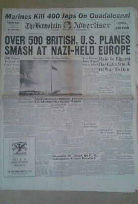 Honolulu Advertiser newspaper December 7, 1942 WW2