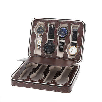 8 Grids Zippered Watch Storage Travel Leather Case Watch Boxes Organizer UK