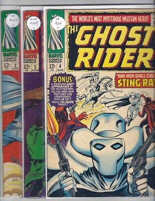 (1967) Marvel Comics Western Ghost Rider #2 Vg #3 Vg And #4 Fine Dick Ayers Art!