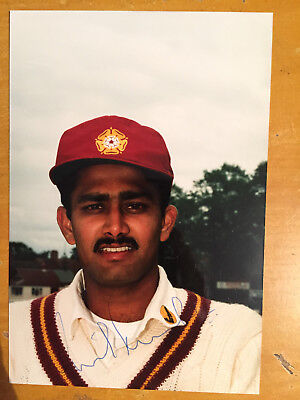 1980s Anil Kumble Signed Photograph Northamptonshire & India vgc