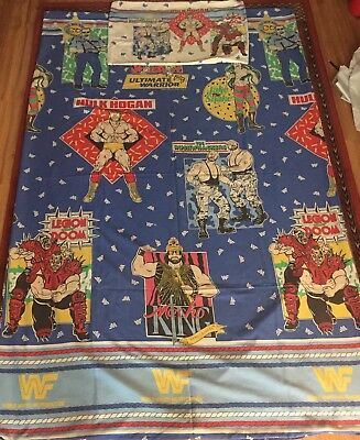 RARE VINTAGE 90s WWF WWE WRESTLING SINGLE BED SHEET DUVET COVER AND PILLOW