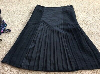M&S Per Una Black Pleated Skirt BNWT Size 12 Eur 40