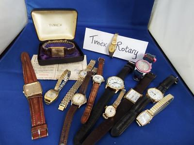 Job Lot 10 Vintage Rotary/timex Men's/women's Watches - Spares/repair    Cl/17