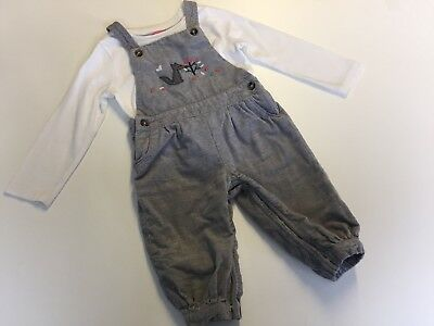 Girls * Next & M&S * Cute Soft Dungarees with Fox & Top Outfit 9-12 months VGC