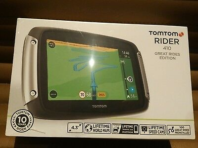 TomTom Rider 410 Great Rides  Edition Motorcycle GPS-SatNav Lifetime Map sealed