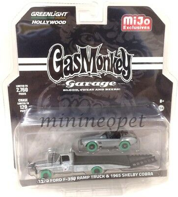 GREENLIGHT 51138 GAS MONKEY GARAGE 1970 FORD F350 & 1965 SHELBY COBRA 1/64 Chase