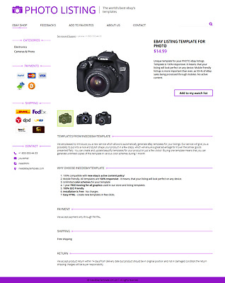 Photo Camera Parts Sale eBay Listing Template for New Rules