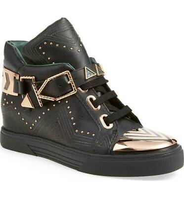 IVY KIRZHNER Lunar Black Leather Gold Stud Buckle Biker Hidden Wedge Sneaker