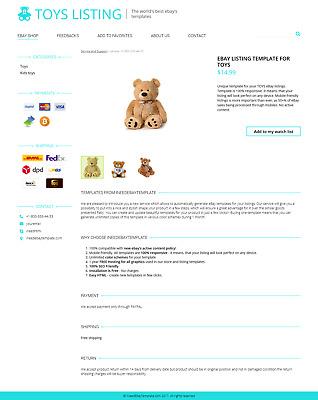 Toys Kids Bears Sale eBay Listing Template for New Rules