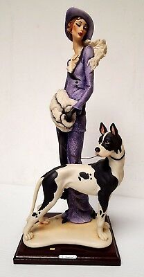 """ARMANI 19"""" tall """"LADY WITH GREAT DANE"""" HAND SIGNED 1987 CAPODIMONTE FIGURINE"""