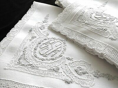 "SUPERB Set 12 Antique Linen 19"" Napkins APPENZELL Hand Embroidered Monogram Lace"