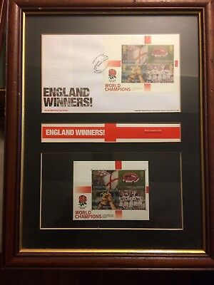 England Rugby World Cup Winners 2003 Mini Sheet & First Day Cover Framed