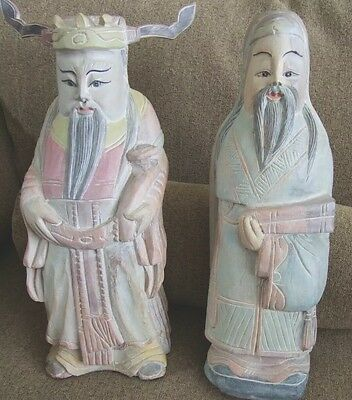 Vintage Chinese Carved Wood Large  Emperor And Wiseman Statures Pastel Coloring