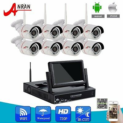 "ANRAN 8CH 720P HD Wireless Video NVR WIFI Security Camera System 7""LCD Monitor"