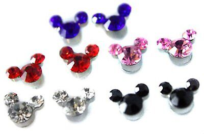 SET Cute Mickey Crystal Girls Kids Magnetic Clip-on Earrings Colourful Childrens