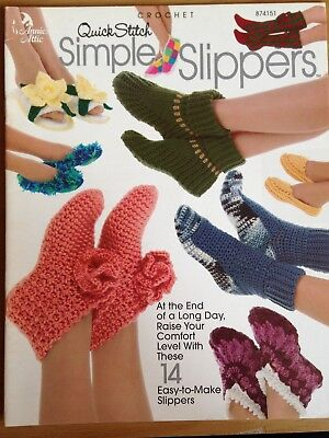 Annies Attic Quick Stitch Simple Slippers Brand New 14 Easy Designs.