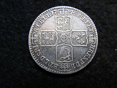 1745 George II Early Milled Silver Lima Half Crown Nice example with FREE UK P&P