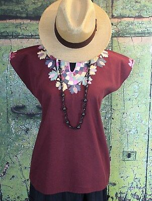 Maroon Blouse Hand Embroidery Mayan Huipil Chiapas Mexican Hippie Boho Cowgirl