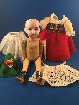 Antique Doll Marked 1909 DEP R 14 A Wood Comp Body 7 1/2""