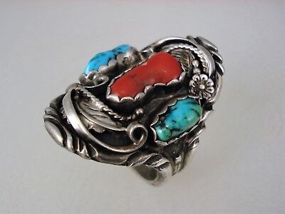 ORNATE VINTAGE NAVAJO STERLING SILVER & TURQUOISE CORAL RING sz 10