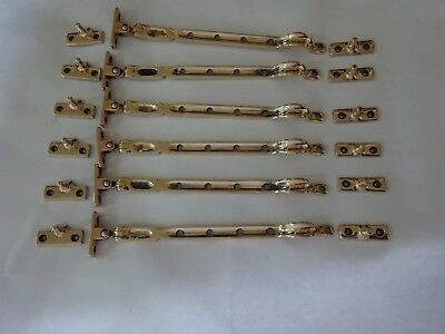 6 Antique Reclaimed Bronze Window Stay Latches Casement Catches Hooks