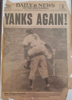 Yanks Again!- Win Fourth Straight World Series Front Page Ny Daily News 10/8/52