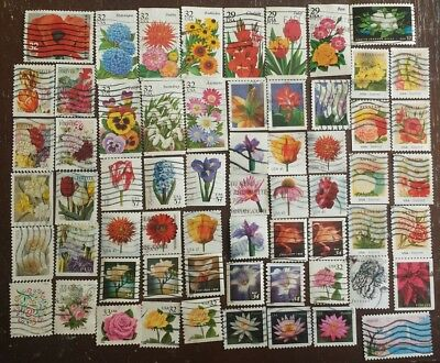 29c- FOREVER LOT OF FLOWERS USED US STAMPS  OFF PAPER NICE COLLECTION #FL1