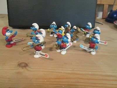 A Set Of 12 Peyo Maching Band Smurfs All But One With Original Schleich Labels